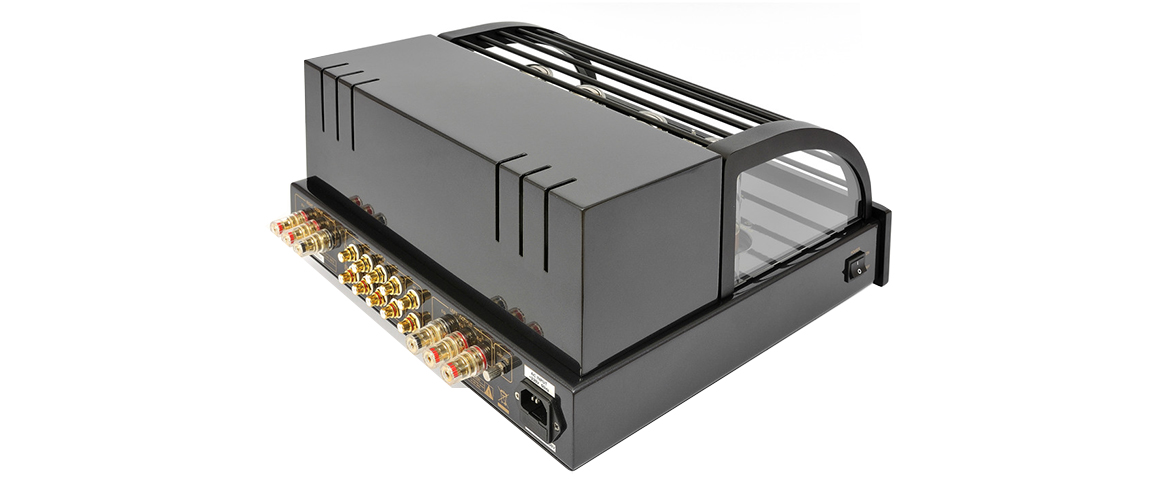 gal3 ProLogue Premium Integrated Amplifier black rear side with cover LR JPG